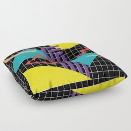 Memphis Pattern - 80s Retro Black Floor Pillow