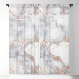 Gray Marble Rosegold  Glitter Pink Metallic Foil Style Blackout Curtain