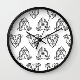 Pitbull Dog Print - black and white halftone Wall Clock
