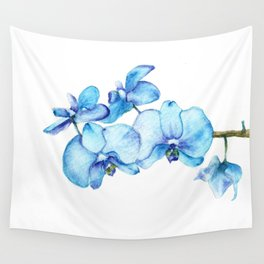 Blue Orchids Two - Watercolor Wall Tapestry