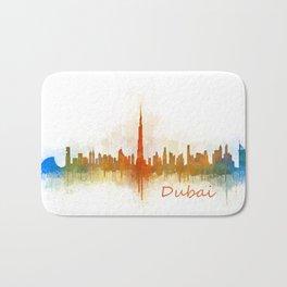 Dubai, emirates, City Cityscape Skyline watercolor art v3 Bath Mat
