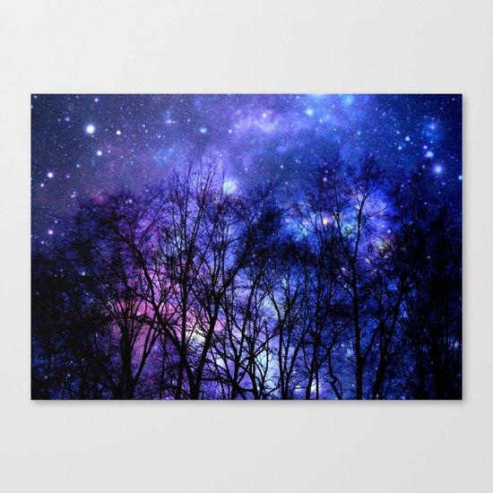 Black Trees purple blue SPACE Canvas Print