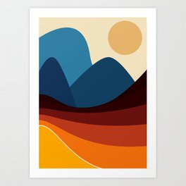 COLORFUL ABSTRACT LANDSCAPE ILLUSTRATION Art Print