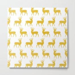 Mid Century Modern Deer Pattern Mustard Yellow 3 Metal Print