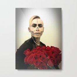 Skull Tux And Roses Photograph Metal Print