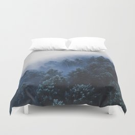 Foggy Blue Purple Mountain hill Pine Trees Landscape Nature Photography Minimalist Modern Art Duvet Cover