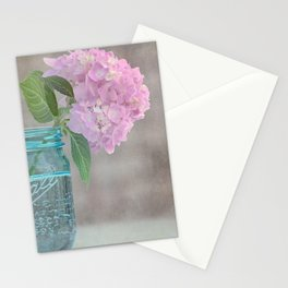 Pink Hydrangea in Blue Jar Vase -- Still Life Stationery Cards