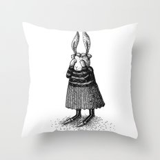 Rabbit - Girl Throw Pillow