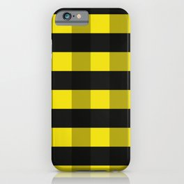 Black and Yellow Checkered Pattern iPhone Case