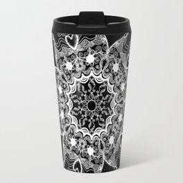 Mandala Project 215 | White on Black Travel Mug