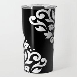 Scroll Damask Art I White on Black Travel Mug