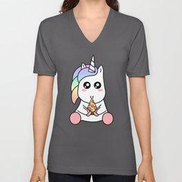 Cute Funny Kawaii Unicorn Eating Pizza Slice Magical Rainbow Unisex V-Neck