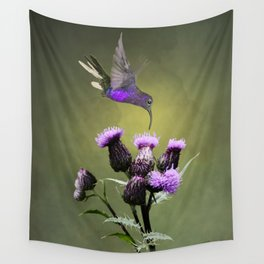 Violet Sabrewing Hummingbird and Thistle Wall Tapestry