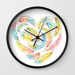 Feathers heart Wall Clock
