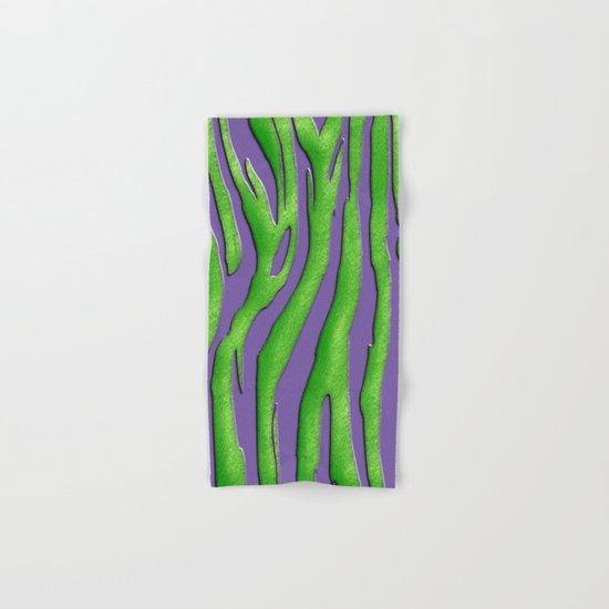 Bright Purple & Green Zebra Print Hand & Bath Towel