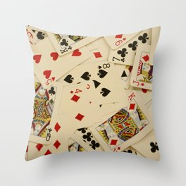 Scattered Playing Cards Texture Photograph Throw Pillow