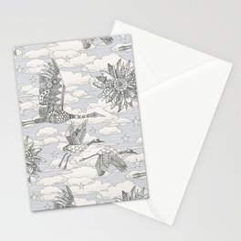 steampunk crane toile lavender Stationery Cards