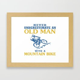 OLD MAN WITH A MOUNTAIN BIKE Framed Art Print