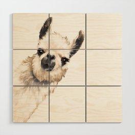 Sneaky Llama White Wood Wall Art