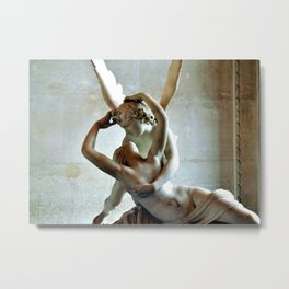 Psyche Revived by Cupids Kiss - Canova at the Louvre Metal Print