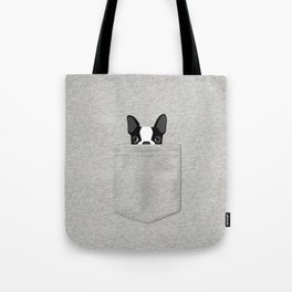 Pocket Boston Terrier - Black Tote Bag