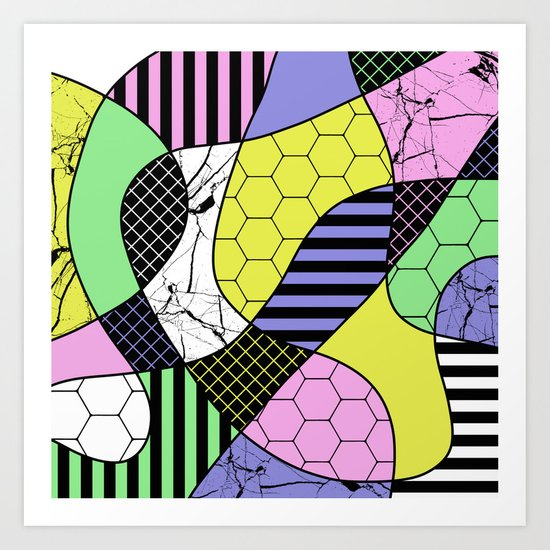 Pastel Collage - Multi patterned, abstract, pastel themed geometric art Art Print