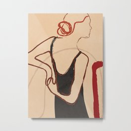 Abstract Minimal Woman Metal Print