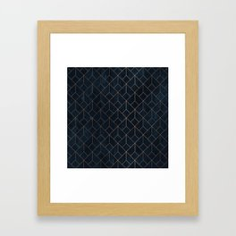Gold Art deco on Navy ink Framed Art Print