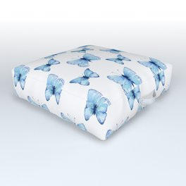 Blue Butterfly Watercolor Outdoor Floor Cushion