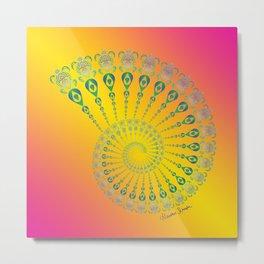Spiral Tribal Turtle Shell Tropical Metal Print