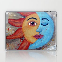 Soluna, Sun and Moon Mixed media Painting Laptop & iPad Skin