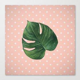 Leaf & Polka Dots Canvas Print