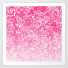 Modern girly floral pattern pink ombre watercolor pattern Art Print