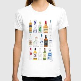 Tequila, Whiskey, Vodka Bottles Illustration T-shirt
