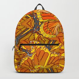 ORIGINAL ABSTRACT ART OF YELLOW-GOLD MONARCH BUTTERFLIES PUZZLE Backpack