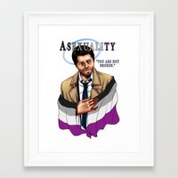 fandom Framed Art Prints featuring Fandom Pride : Asexuality by Seraph Limonade