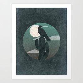 Hawk On Cactus Desert Night Art Print