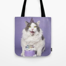 Happy Birthday Fat Cat In Party Hat With Cake Tote Bag