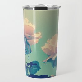 Soft Baby Pink Roses with Mint Blue Sky Backgroud Travel Mug