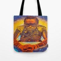 miles davis Tote Bags featuring Miles by Kip Sikora