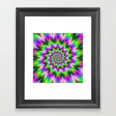 Spiral Rosette in Pink Green and Blue Framed Art Print