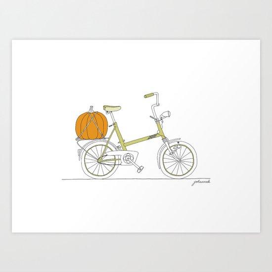 Bicycle with Pumpkin Art Print