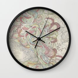 Beautiful Map of the Lower Mississippi River Wall Clock