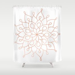 Mandala Rose Gold Pink Star Shower Curtain