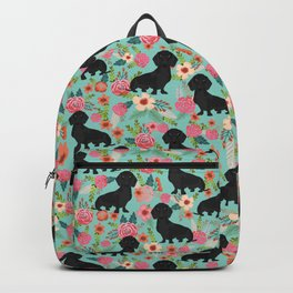 Doxie Florals - vintage doxie and florals gift gifts for dog lovers, dachshund decor, black doxie Backpack