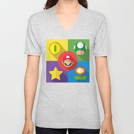 Super Mario flat Unisex V-Neck