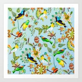Colourful Birds Chintz Multicolour Art Print