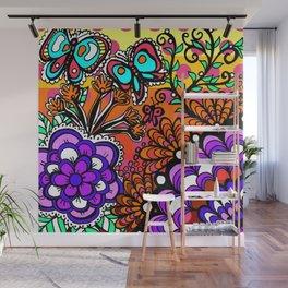 Doodle Art Flowers and Butterflies Pinks Wall Mural