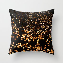 City Tree Lights, Bokeh Exposure, George's Dock, Dublin, Ireland Throw Pillow