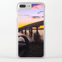 Bench at Sunset by the Casco Bay Bridge Clear iPhone Case